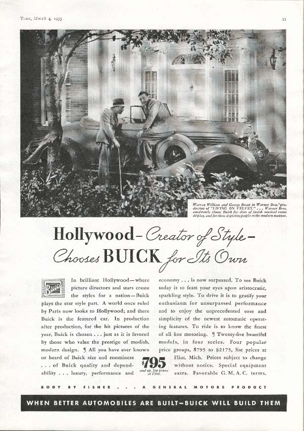 Image for Buick Hollywood George Brent Living on Velvet ad 1935
