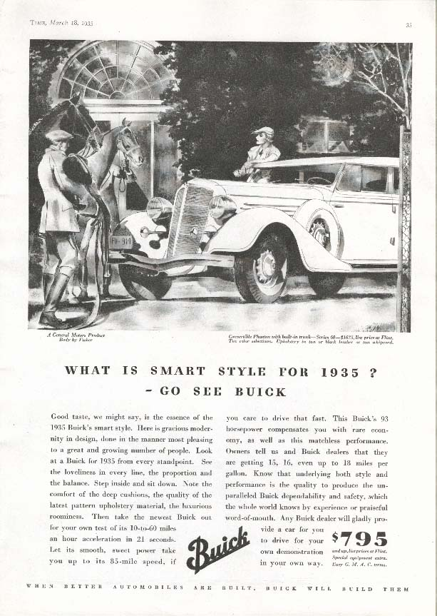Image for Buick Convertible Phaeton 60 Smart Style for 1935 ad