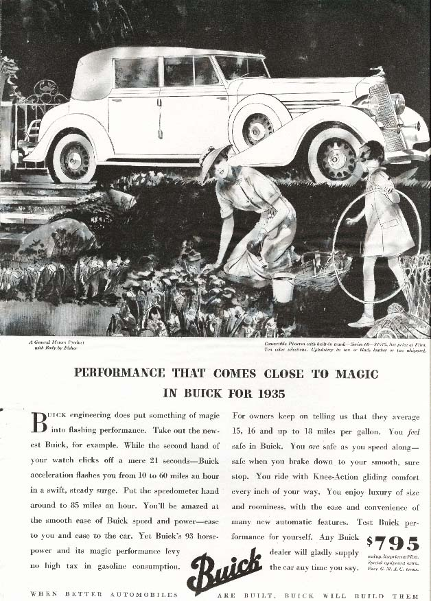 Image for Buick Convertible Phaeton 60 Performance Magic ad 1935