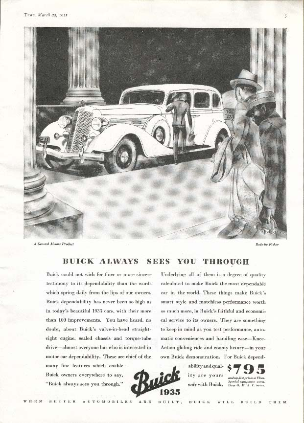 Image for Buick Always Sees You Through ad 1935
