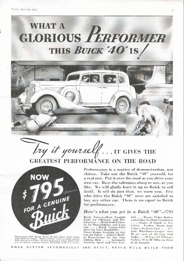 Image for Buick Series 40 Club Sedan A Glorious Performer ad 1935