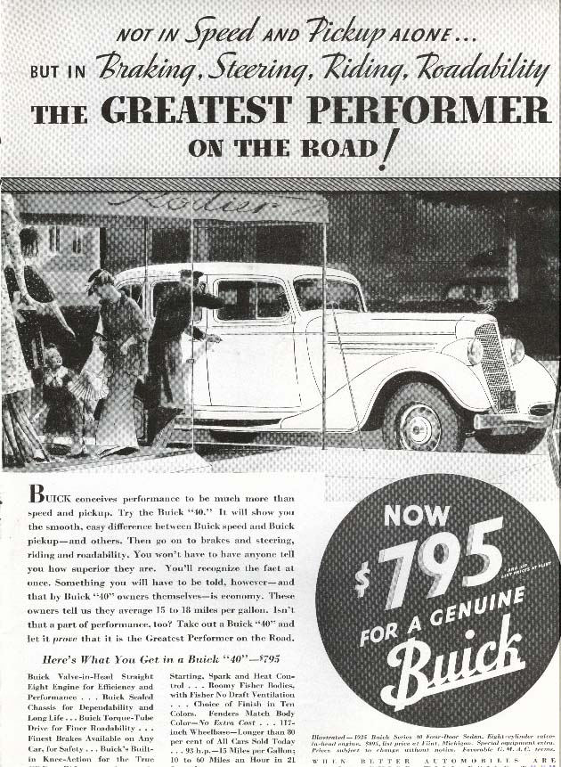 Image for Buick Series 40 Greatest Performer on the Road! Ad 1935
