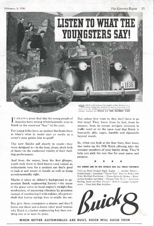 Image for Buick 8 Listen To What The Youngsters Say! Ad 1936