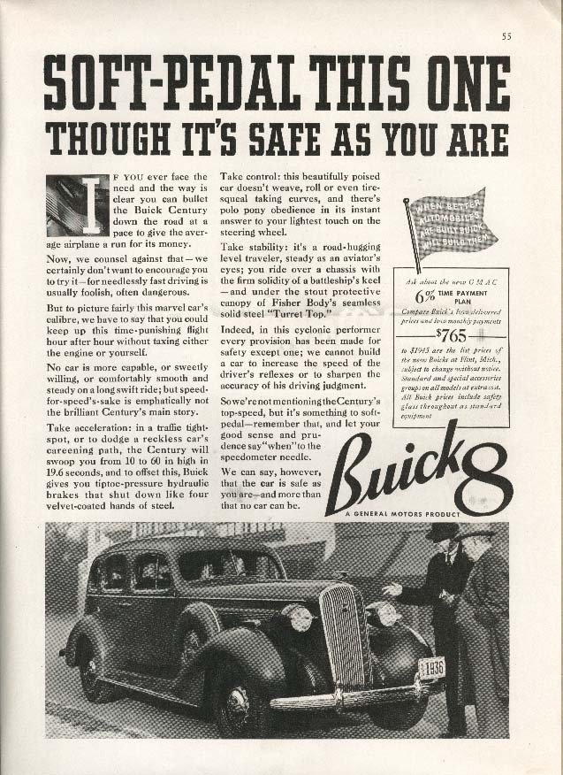 Image for Buick 8 Soft-Pedal This One (though it's safe) ad 1936