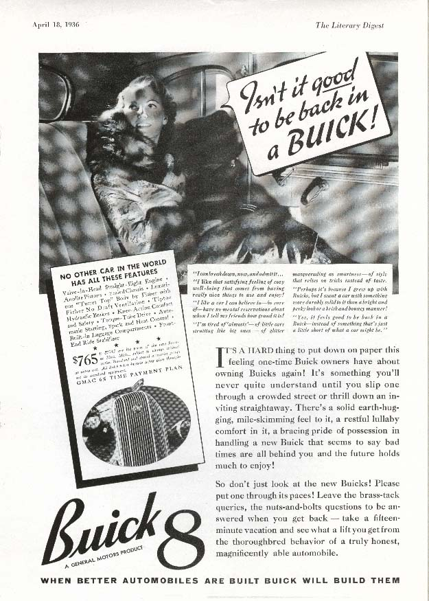 Image for Buick 8 Isn't it good to be back! Ad 1936