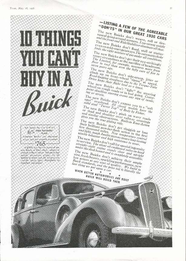 Image for Buick 10 Things You Can't Buy Agreeable Don'ts ad 1936