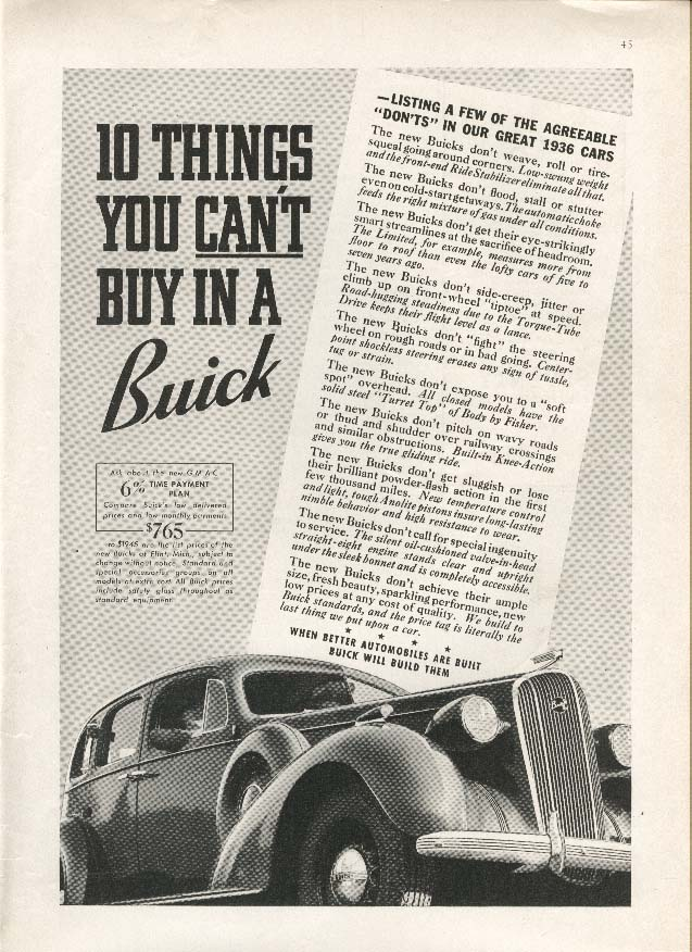10 Things You Can't Buy In A Buick 8 ad 1936