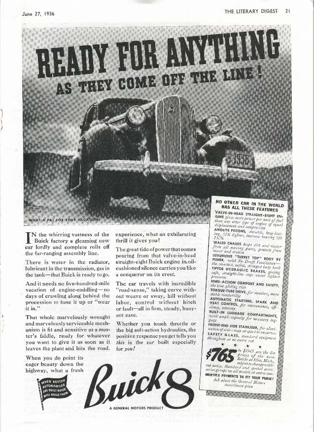 Buick 8 Ready For Anything Off The Line! ad 1936