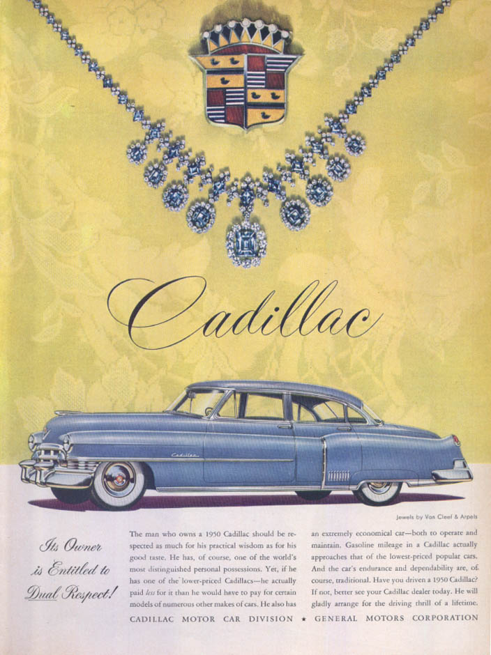 Cadillac entitled to respect Van Cleef Arpels ad 1950