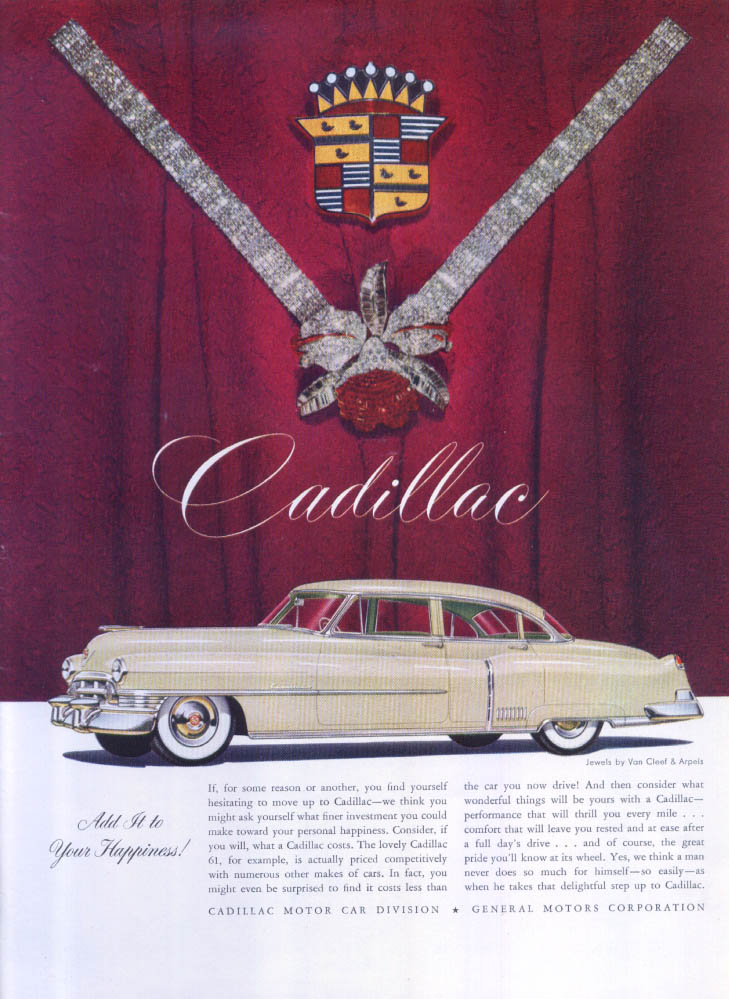 Image for Cadillac Add to your Happiness Van Cleef Arpels ad 1950