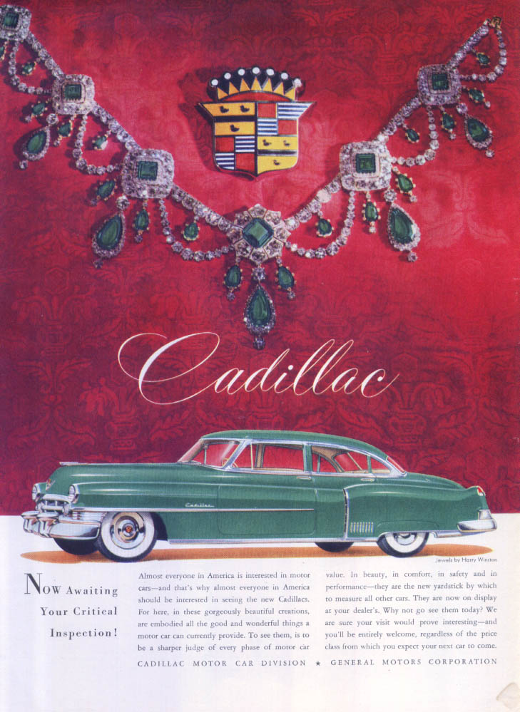 Image for Cadillac Awaiting Inspection Harry Winston ad 1950