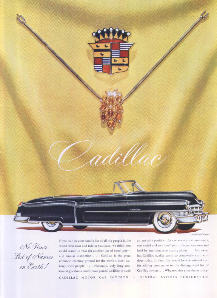 Image for Cadillac convertible No Finer Cartier ad 1950