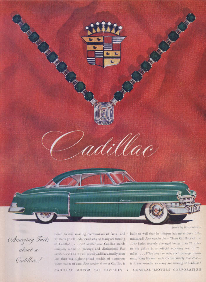 Image for Cadillac Amazing Facts Harry Winston ad 1950