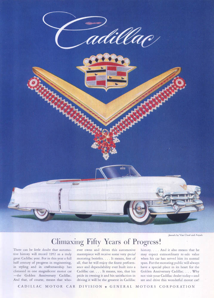 Image for Cadillac Climaxing Fifty Years Van Cleef Arpels ad 1952
