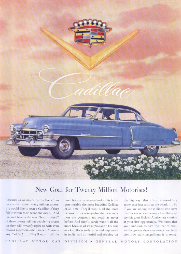 Image for Cadillac New Goal for Twenty Million Motorists ad 1952