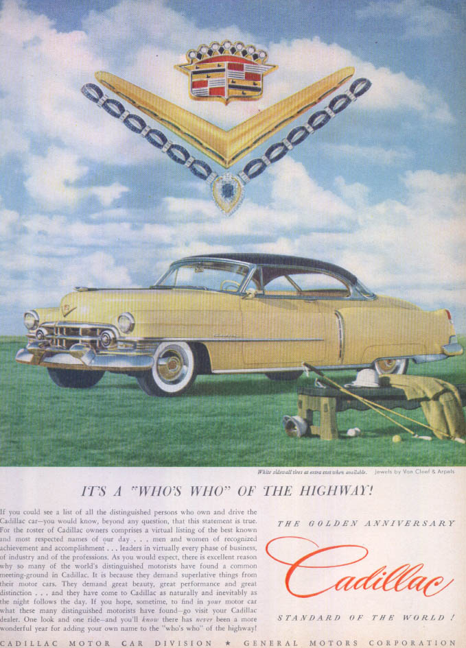 Image for Cadillac Who's Who of Highway Van Cleef Arpels ad 1952