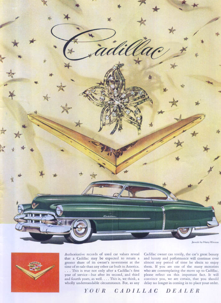 Cadillac authoritative records Harry Winston ad 1953