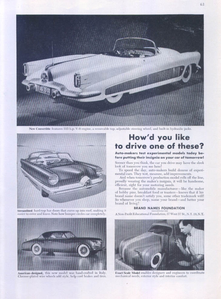 Image for Cadillac experimental models convertible ad 1953