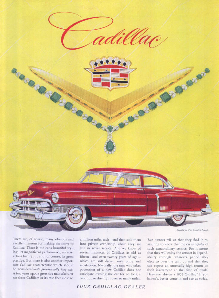 Cadillac obvious reasons Van Cleef Arpels ad 1953