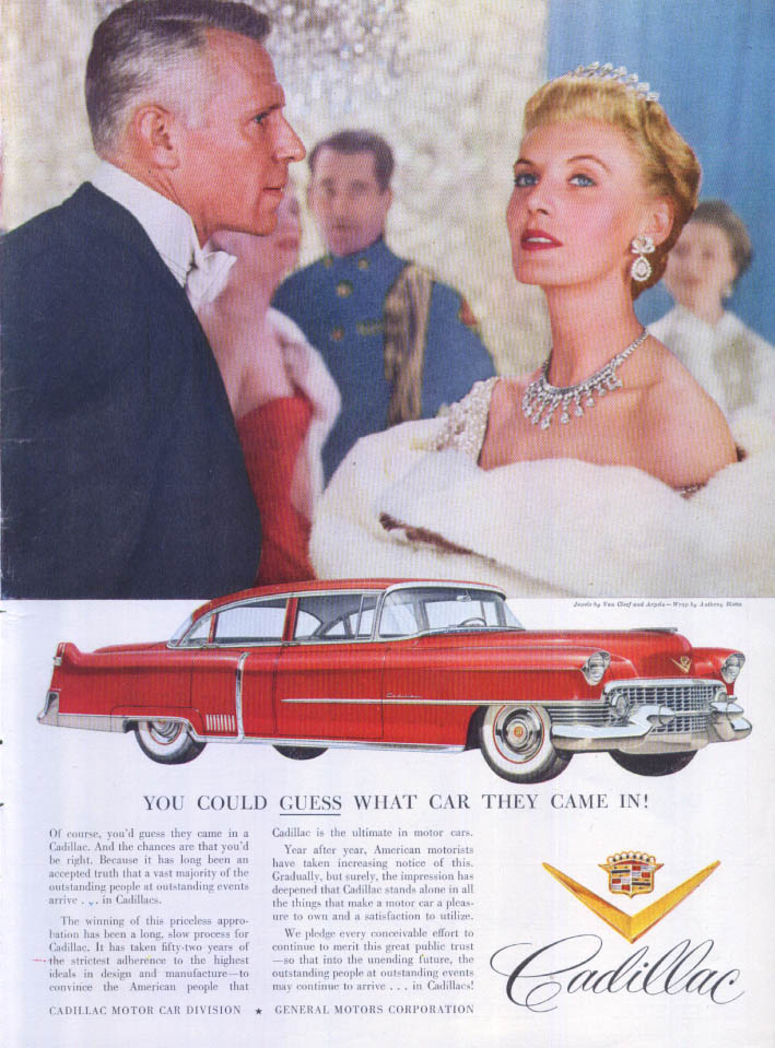 Cadillac Guess What Car They Came In Van Cleef ad 1954