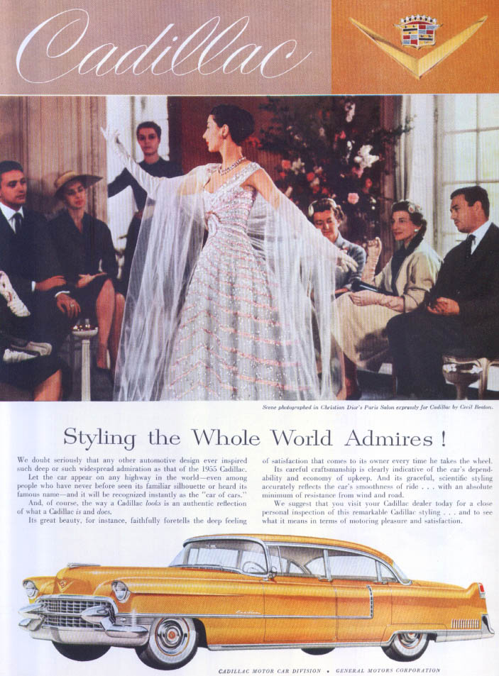 Cadillac Styling the Whole World Admires! Dior Ad 1955