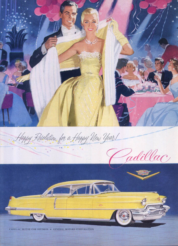 Cadillac Happy Resolution for a Happy New Year! Ad 1956