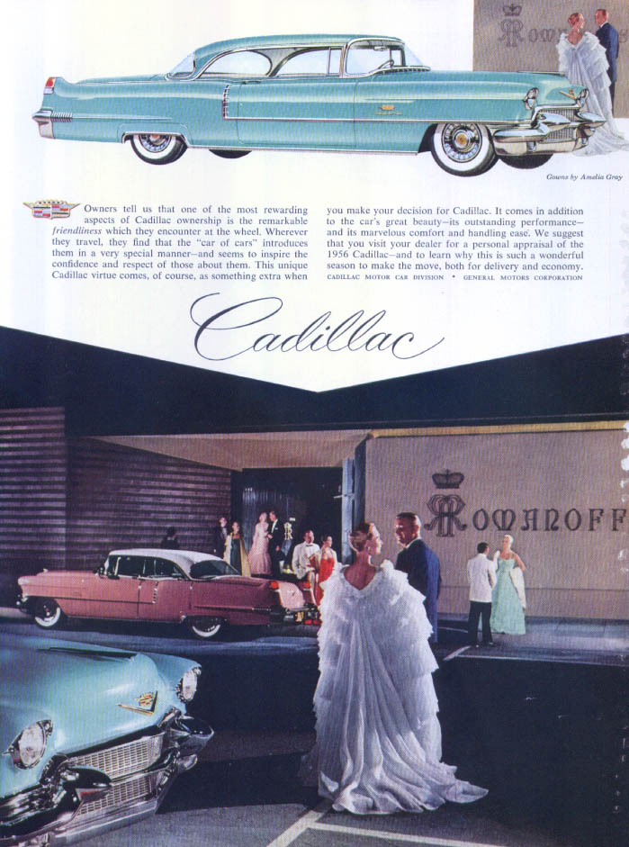 Cadillac rewarding aspects Amelia Gray ad 1956