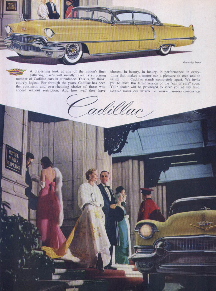 Cadillac Hotel Mark Hopkins Irene Gowns ad 1956