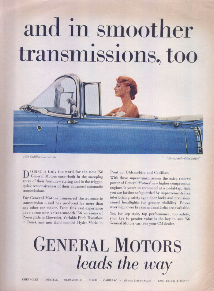 General Motors smoother transmissions Cadillac ad 1956