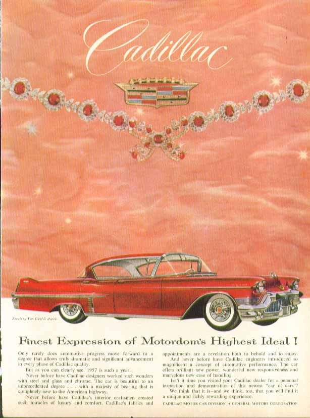 Finest Expression of Motordom's Highest Ideal! Cadillac 4-door hardtop ad 1957
