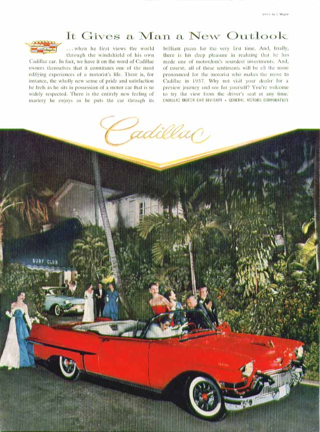 It Gives a Man a New Outlook Cadillac Convertible ad 1957