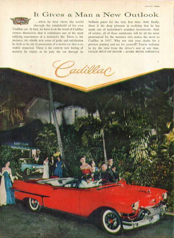 It Gives a Man a New Outlook Cadillac ad 1957 in Time magazine