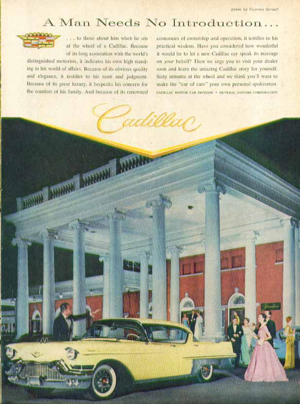 A Man Needs No Introduction Cadillac ad 1957 in Time Magazine