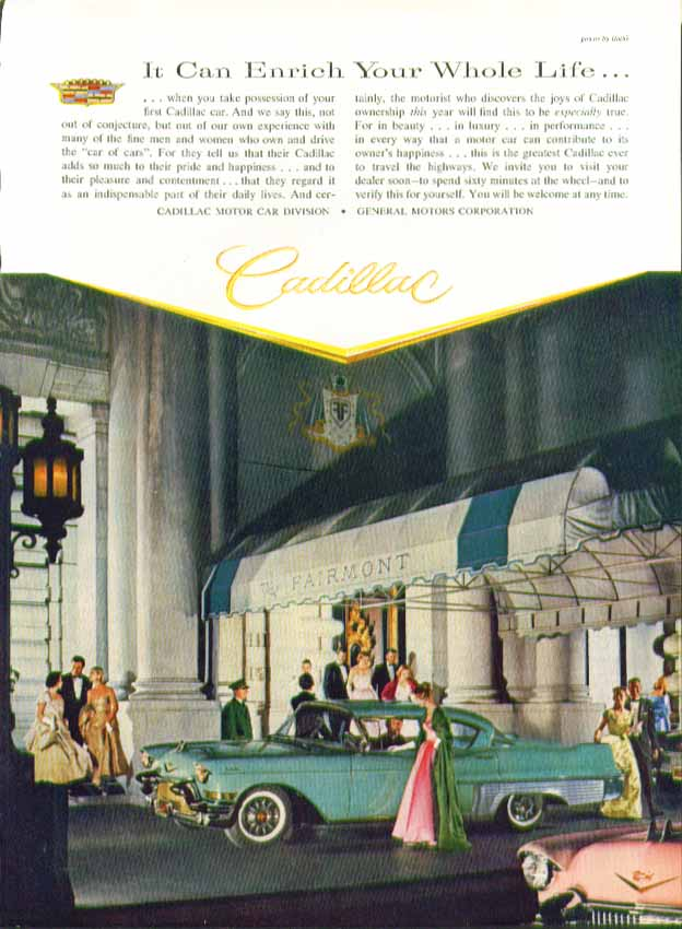 It Can Enrich Your Whole Life Cadillac ad 1957 in New Yorker