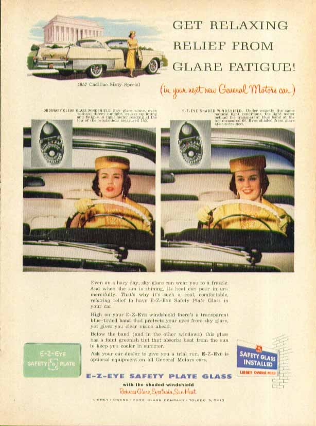 Get relaxing relief from glare fatigue LOF Safety Glass Cadillac ad 1957