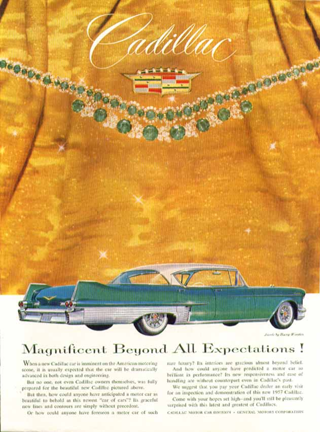 Beyond All Expectations Cadillac ad 1957 in New Yorker