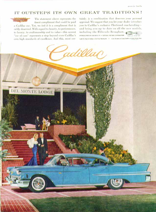It outsteps its own great traditions! Cadillac 4-door hardtop ad 1958