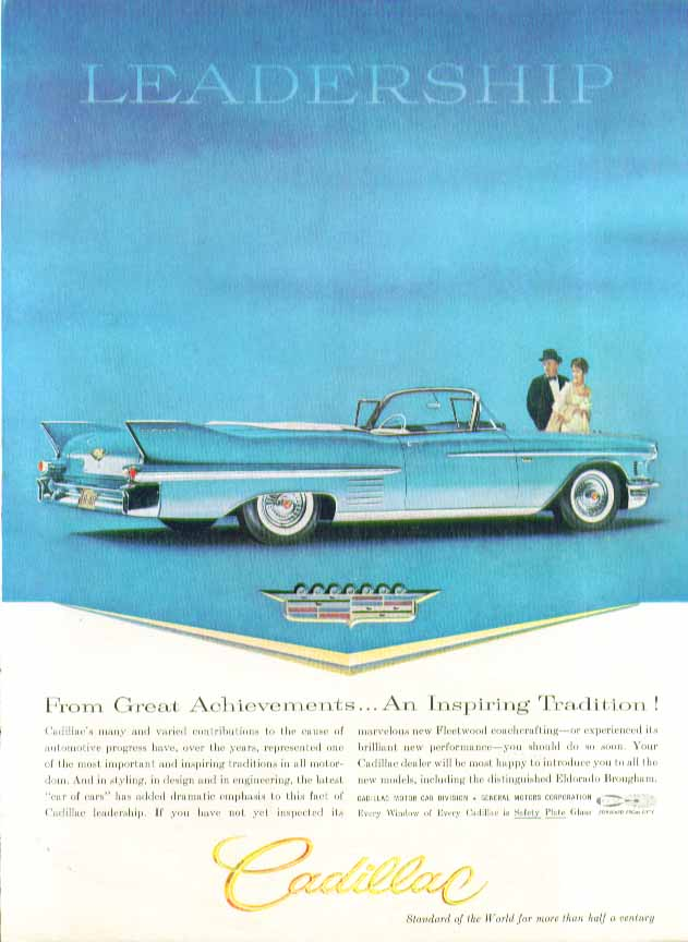 An Inspiring Tradition Cadillac Convertible ad 1958 in New Yorker