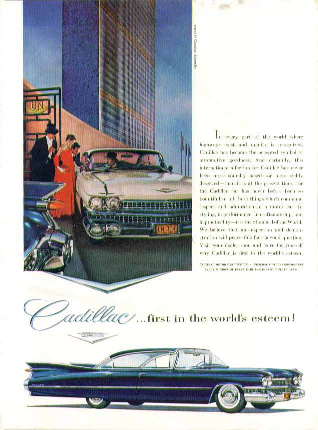 First in the world's esteem! Cadillac ad 1959 in New Yorker