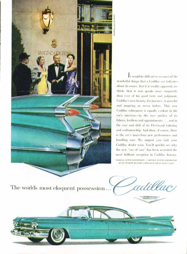 The world's most eloquent posession Cadillac ad 1959 in New Yorker