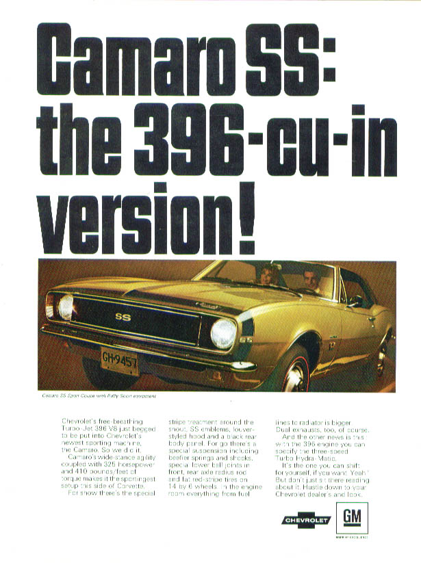Camaro SS: the 396-cu-in version! Ad 1967