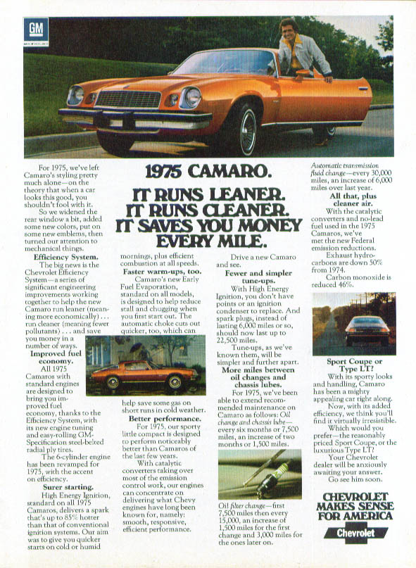 It runs leaner cleaner saves you money Camaro ad 1975 Motor Trend