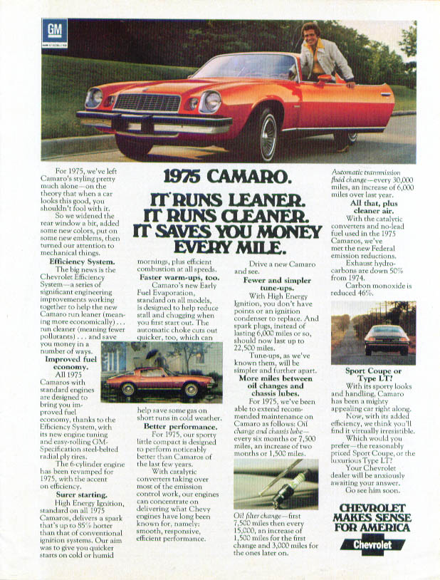 It runs leaner cleaner saves you money Camaro ad 1975 Car & Driver