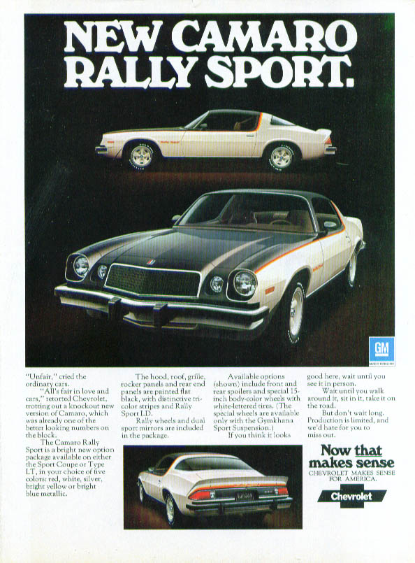 New Camaro Rally Sport now that makes sense ad 1975