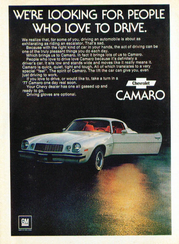 Looking for people who love to drive Camaro ad 1977