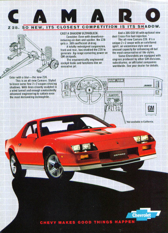 Z28 closest competition its shadow Camaro ad 1982 Z/28