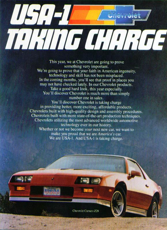 USA-1 taking charge Camaro ad 1983