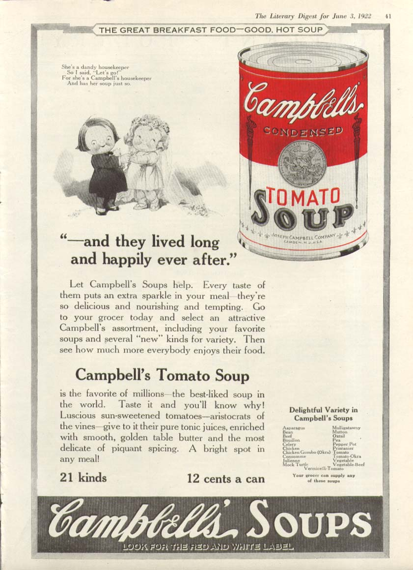 Image for Housekeeper Ever After Campbell's Tomato Soup ad 1922