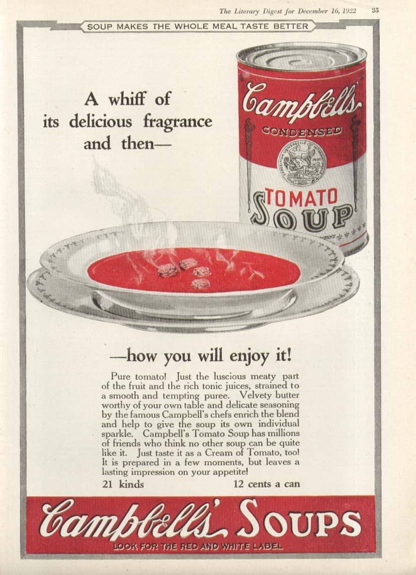 Delicious Fragrance Campbell's Tomato Soup ad 1922