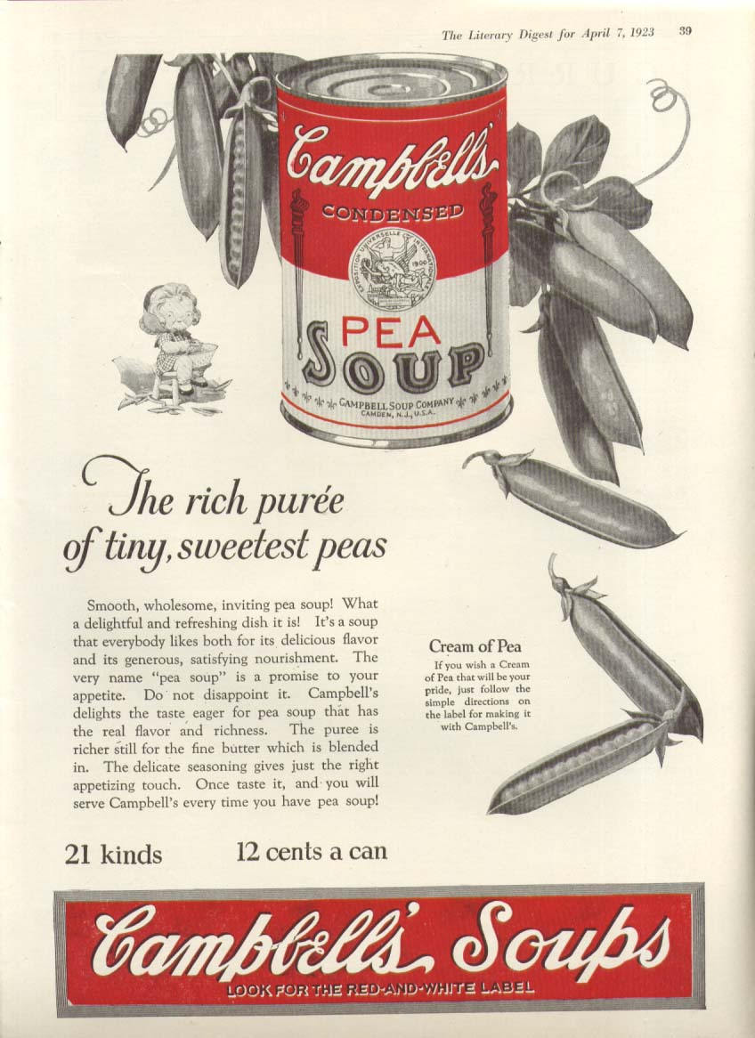 Image for Rich Puree Campbell's Cream of Pea Soup ad 1923